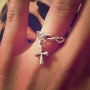 James Avery Twisted Wire Ring W/ St. Teresa Cross